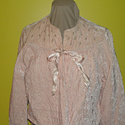 Powder Puff Pink Crushed Velvet Bed Jacket
