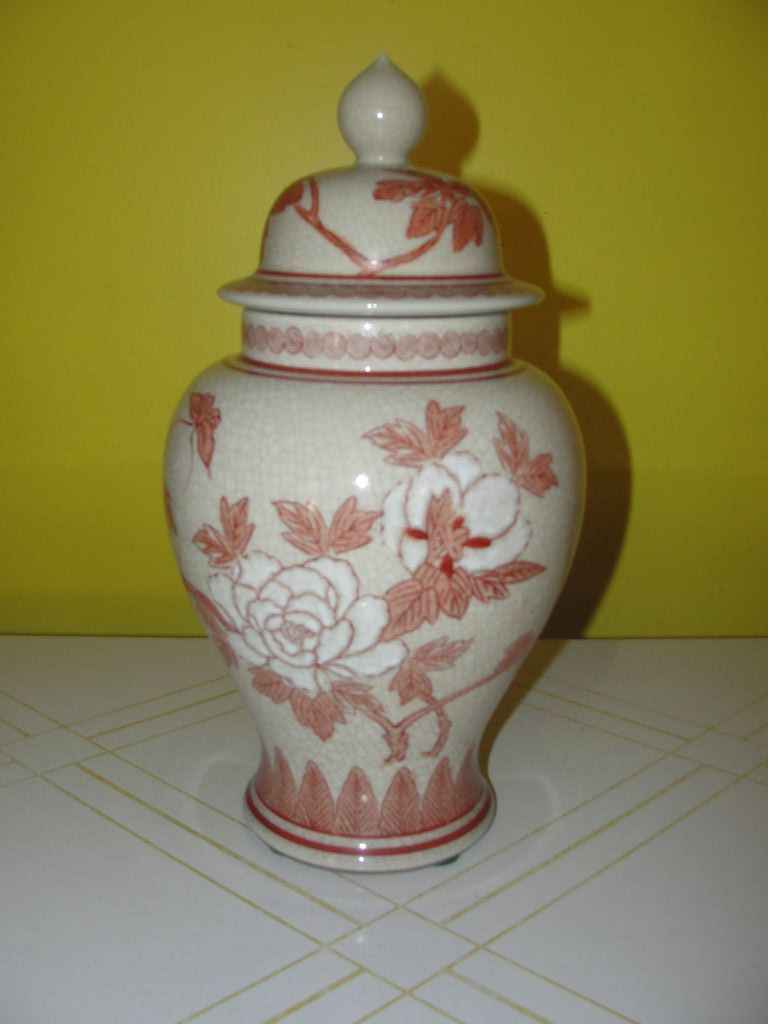 Floral Blossom Ginger Jar with Lid - b129
