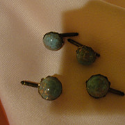 Blue with Copper Flecks Button Studs - Free shipping