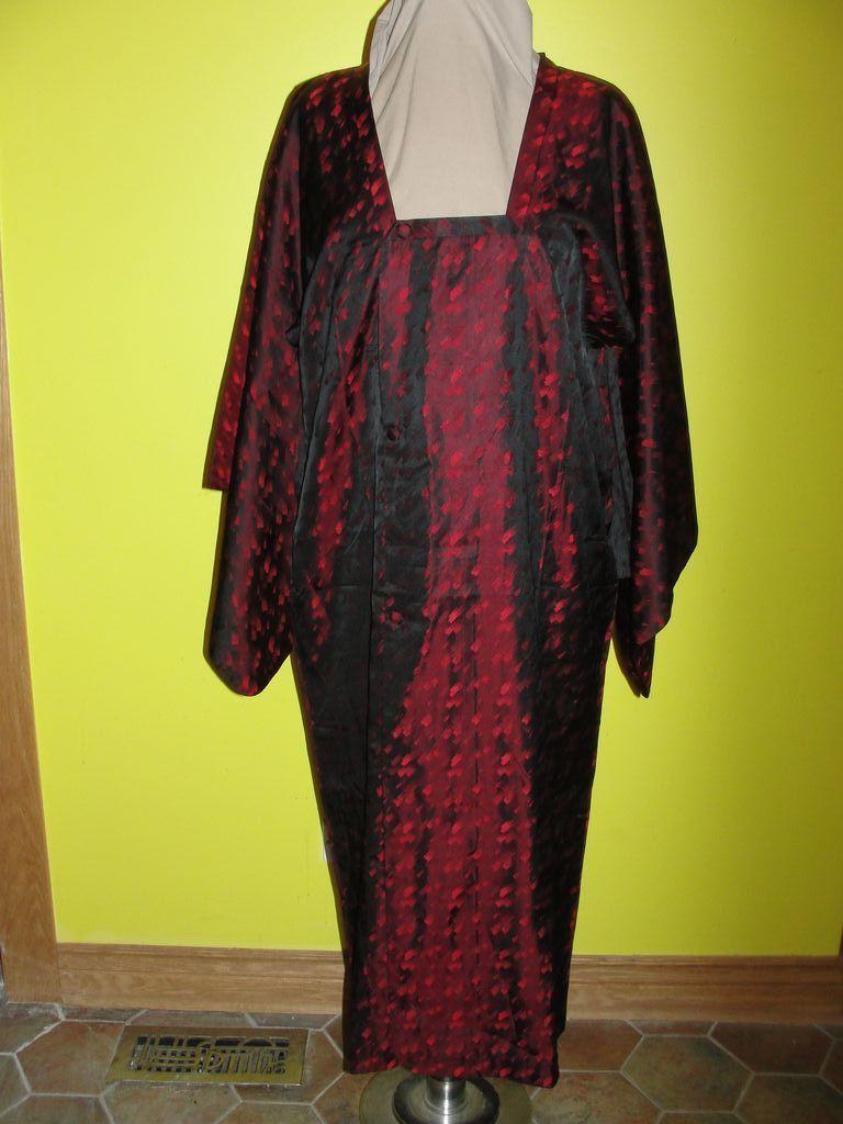 Black and Red ''Paint Stroke'' Reijin Rain Coat Kimono
