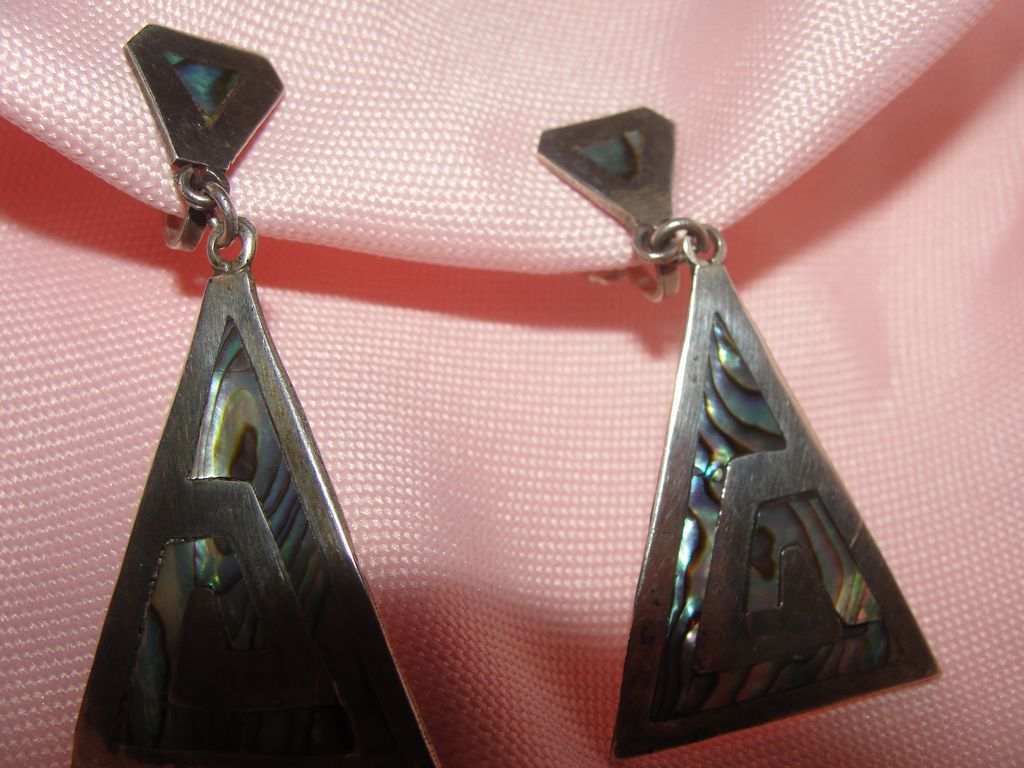 Silver Triangles with Abalone Screw Back Earrings - free shipping