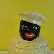 Pearl China Black Americana ''Cooky'' Chef Cookie Jar - b141