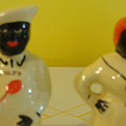 "Pearl China Black Americana Table Top ""Salty and Peppy"" Salt and Pepper Shakers - b141"