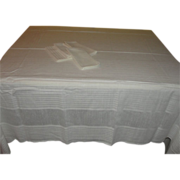 White Woven Stripe Tablecloth and Napkins - b137