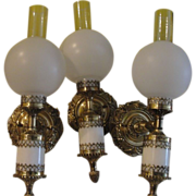 Hollywood Regency Glamor Thomas Industries Moe Light Wall Sconces - b145