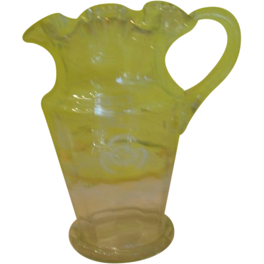 Ruffled Rim Victorian Glass Pitcher - b137