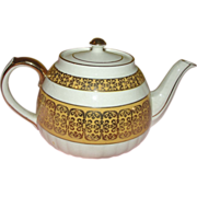 Sadler Gold on Gold Band tea Pot - b139