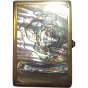 Brass and Abalone Pill Box Hecho En Mexico