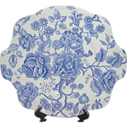 Johnson Bros. English Chippendale Blue Tab Handle Cake Plate