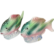Something Fishy Pink and Green Fish Salt and Pepper Shakers