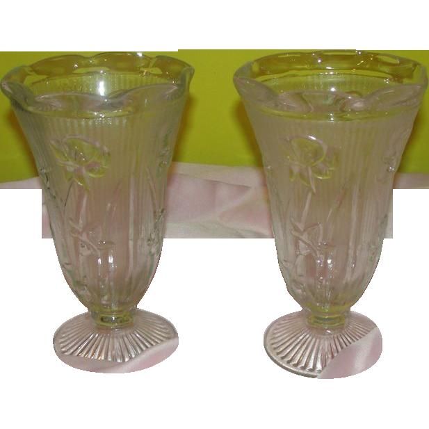 Iris and Herringbone Clear Glass Vase - b139 - b22