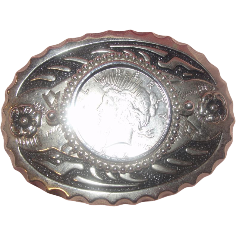 1922 Peace Dollar In Belt Buckle
