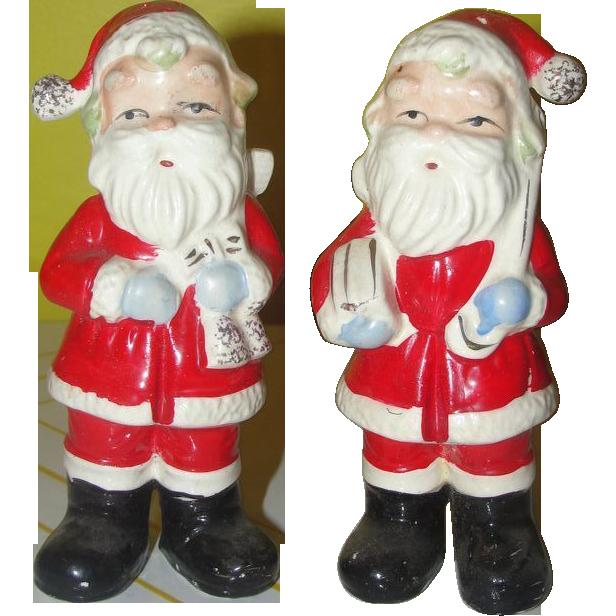 Tall Slim Santa on a Diet Salt and Pepper Shakers