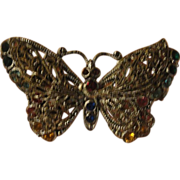 Filigree Butterfly with Colorful Stones pin - Free shipping