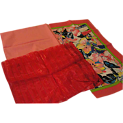 Pink and Red Scarf Trio - b143