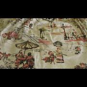 Mid-century West Bank Print Barkcloth Pinch pleated Drapes - g
