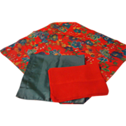Red, Blue and Flower Trio of Scarfs - Free Shipping  - b143