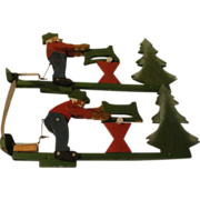 Woodsman Cutting Logs Whirligig - g