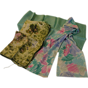 Blue and Green trio of Scarfs - Free shipping - b143