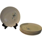 Mid-century Salem China ''Hopscotch'' Turquoise Starburst Dinner Plates - g