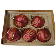 Pink Hand Painted in Bavaria Christmas Tree Ornaments - b148
