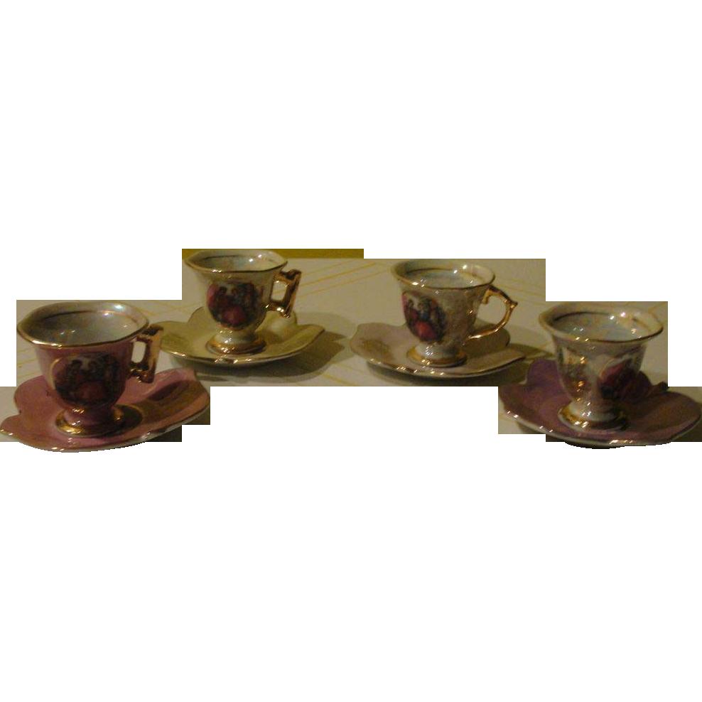 Messen Vienna 33/775 Leaf Saucers with Demitasse Cups - b144