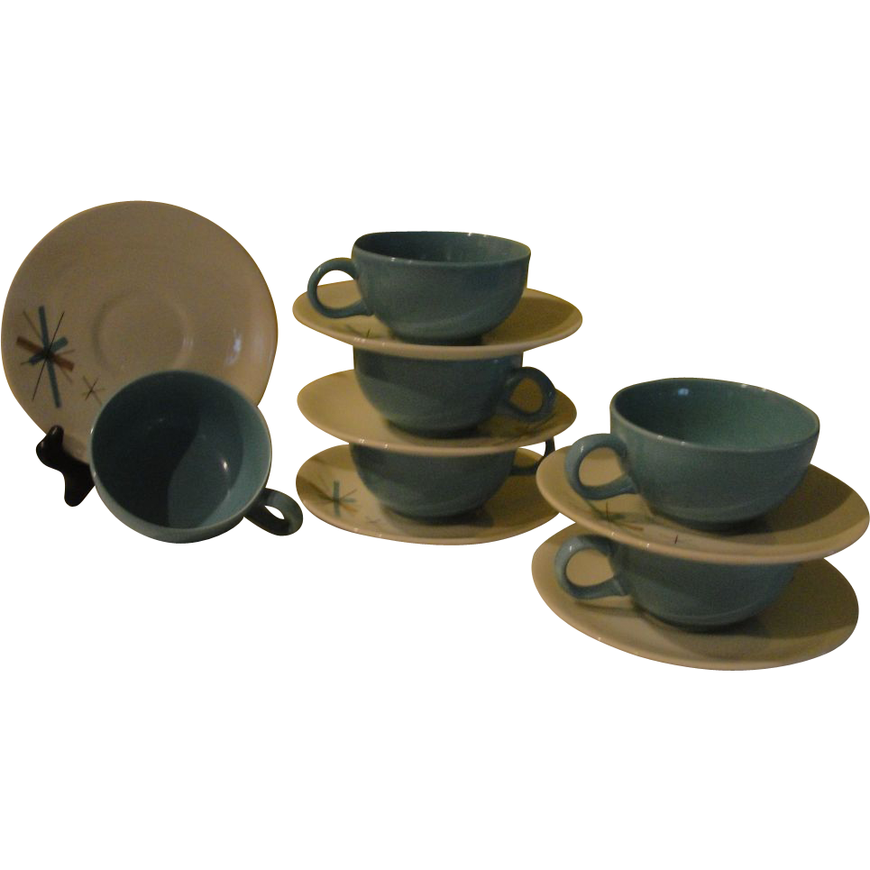 Mid-century Salem China ''Hopscotch'' Turquoise Starburst Cup and Saucer - g