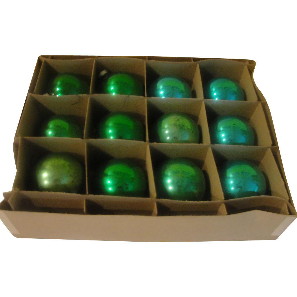 Blue and Green Christmas Tree ornaments in box - b150