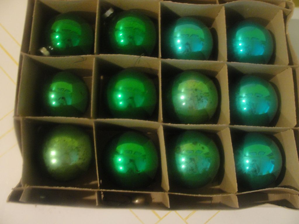 Blue And Green Christmas Tree Ornaments In Box