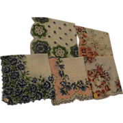 Blue Roses and More Handkerchiefs - Free shipping - b149