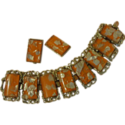 Juicy Orange Confetti Bracelet and Clip-on Earrings -Free shipping