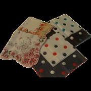 Polka Dot and Flower Handkerchiefs - Free shipping - b149