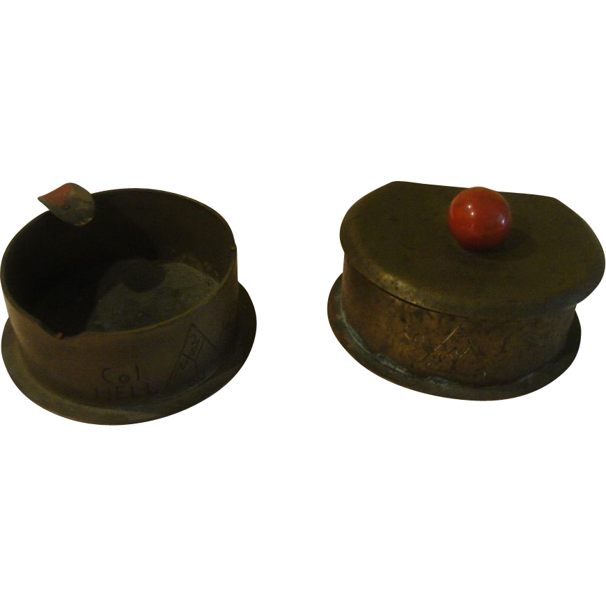 Shell Casing Trench Art Ashtray and Cigarette Box - b154