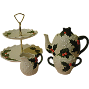 Tea and Cookies for Santa Lefton White Holly tea Pot, Creamer, Sugar Bowl and 2 tier Tid-bit - b156