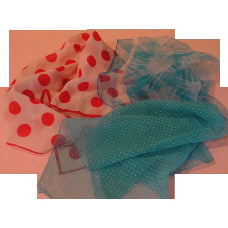 Red Dot Blue Squares Scarf Trio - Free shipping - b157