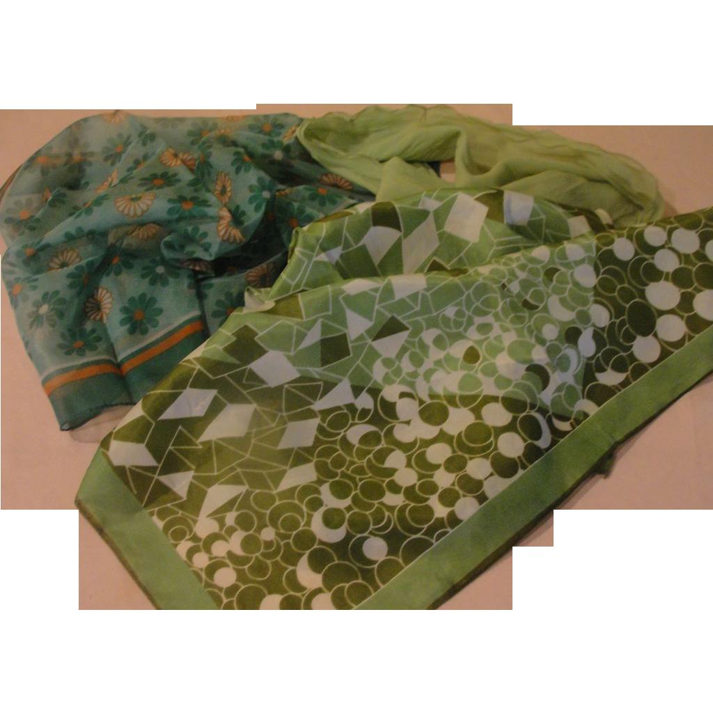 Green, Greener and daisy Scarfs - Free shipping - b157