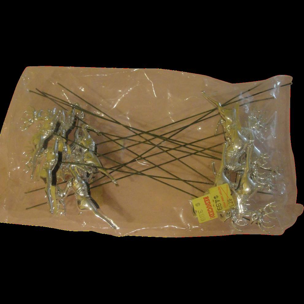 Bag of Silver Reindeer on Picks - b156