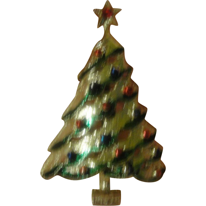 Christmas Tree Pin with Green and red Rhinestone - Free shipping