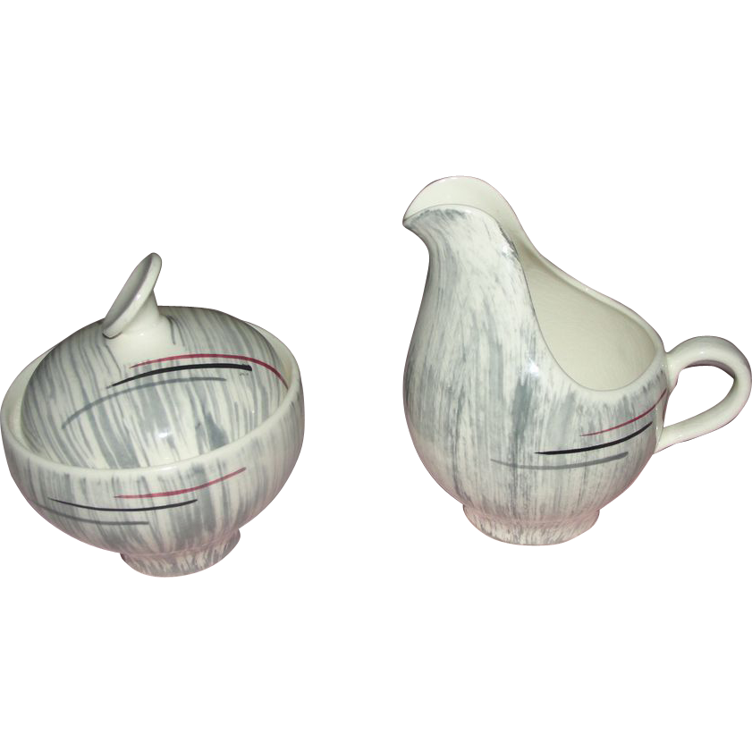 Mid-century Prim Rose China Gray Background 6 1/4'' Creamer and Covered Sugar - b158