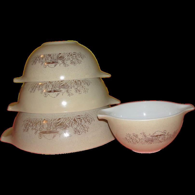 Pyrex Forest Fancies Mushroom Cinderella Bowl Set - g