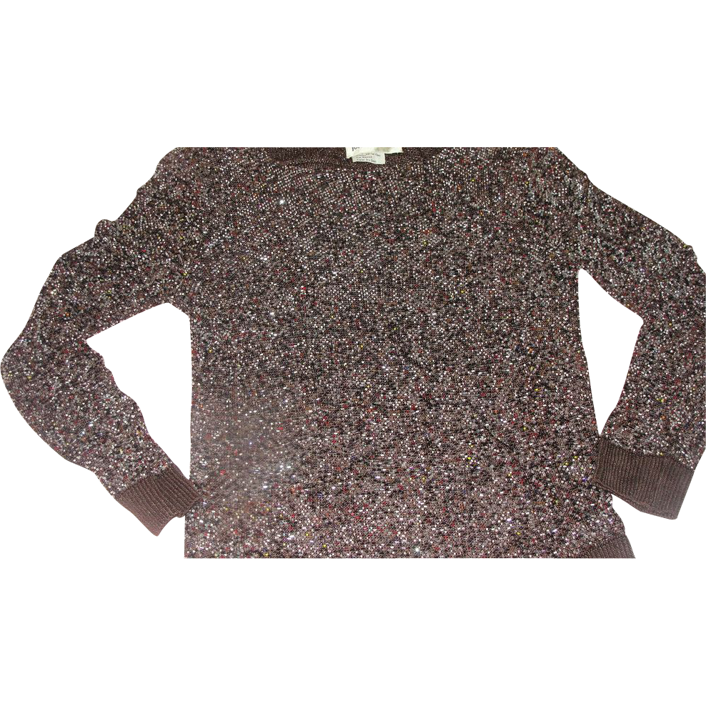 Multi- color Bead Brown Sweater - b160