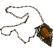 Artful Amber Glass Stone with Filigree Necklace - Free shipping