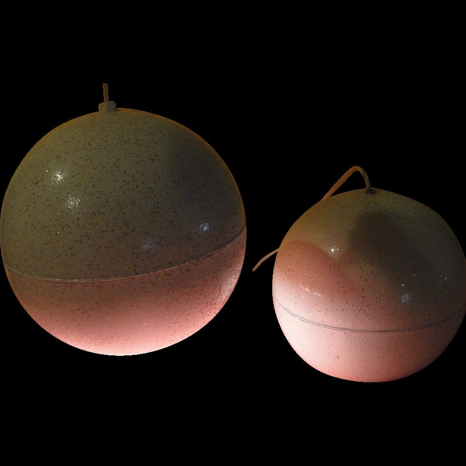 """Space Age Mid-century Modern """"Eyeball"""" White Sphere Pendant Light Fixture - g"""