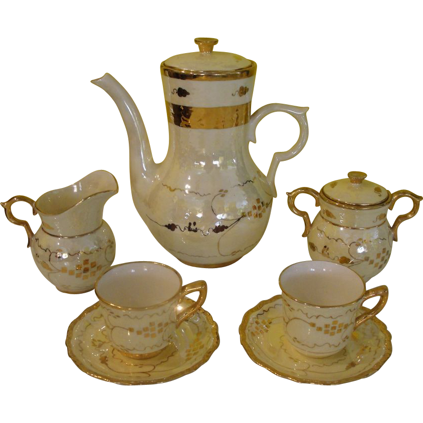 Breakfast in Bed Coffee for 2 Cumbow Yellow Luster Pocahontas 9 piece set - b169