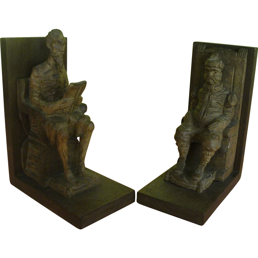 To Dream the Impossible Dream Don Quixote OURO Carved Wood Bookends - b167