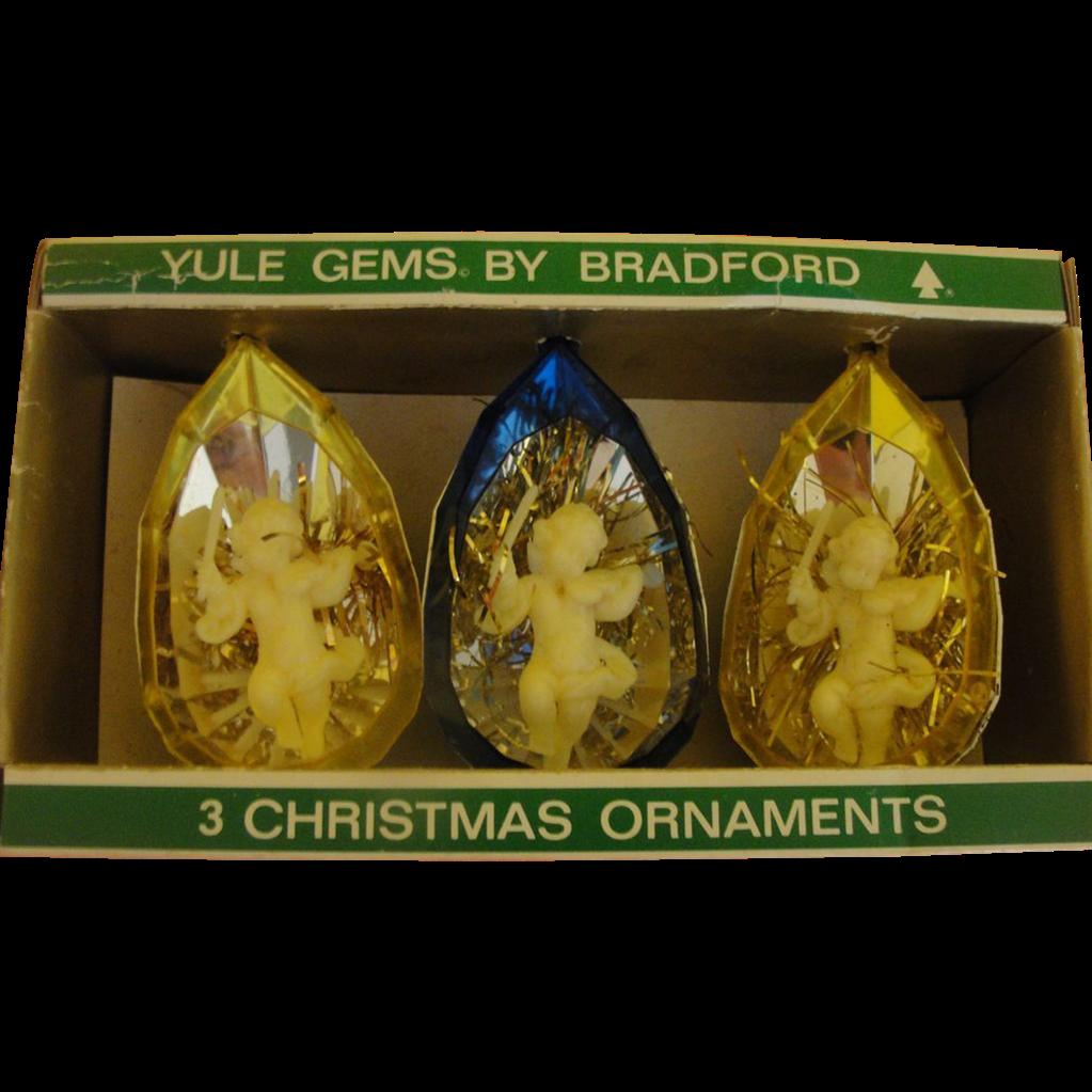 Yule Gems by Brandford Cherubs with Violins Christmas Ornaments in Package - b167
