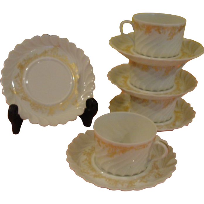 Ever Elegant Gold on White Ladore Haviland Limoges Cup and Saucer - b168