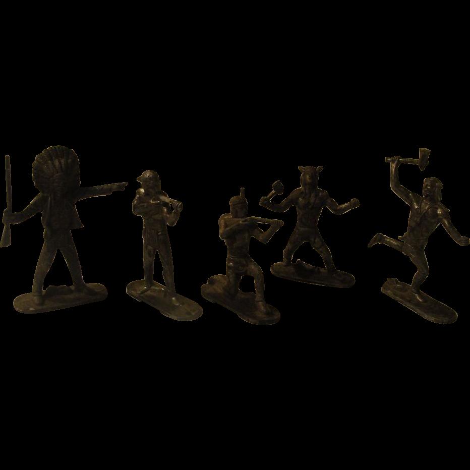 5 Little Indian Cast Metal Toys - b170