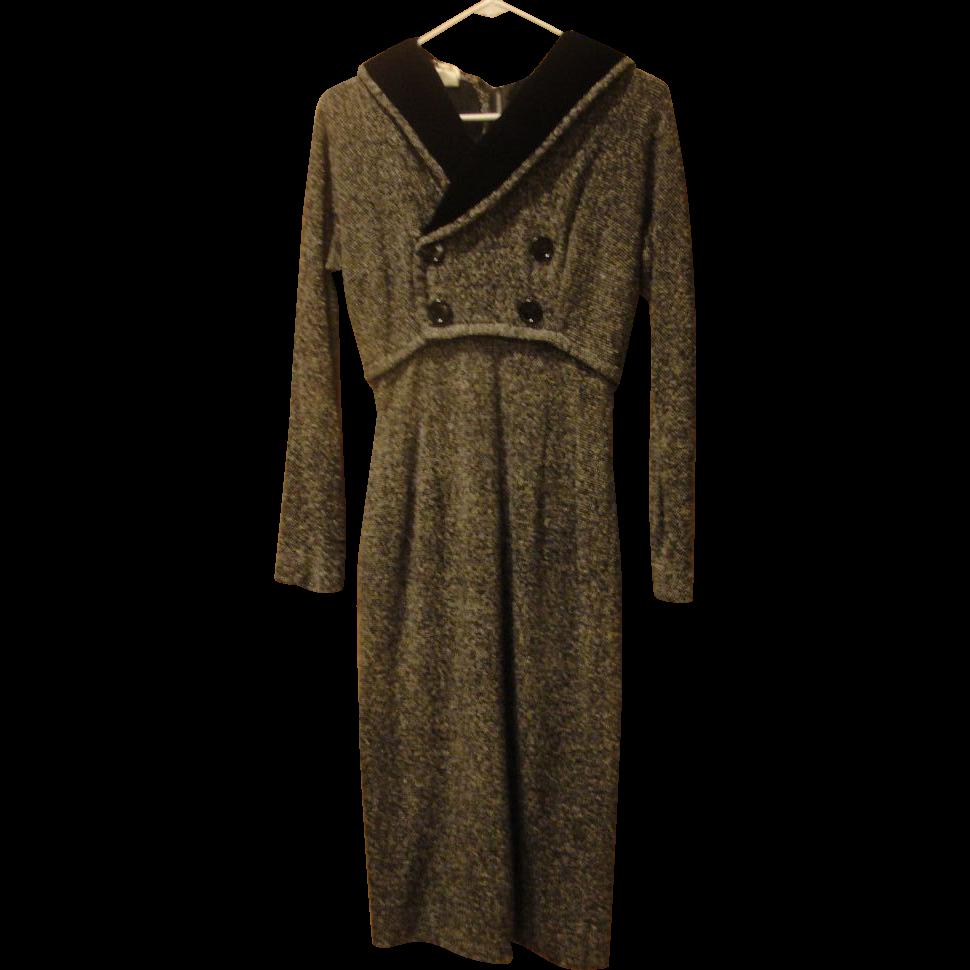 How Tweed it Is Black Velvet Collar Dress