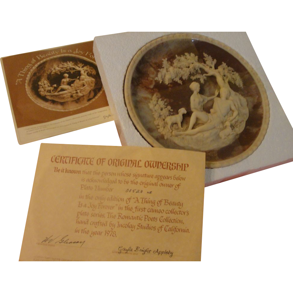Incolay ''A thing of Beauty is a Joy Forever'' Romantic Poets Plate in Bow with COA - b165